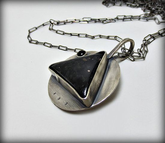 Nuummite Necklace With Onyx  Unique Stone Pendant  Handmade Silver Jewelry Metalsmith, by DeborahLeeTaylor