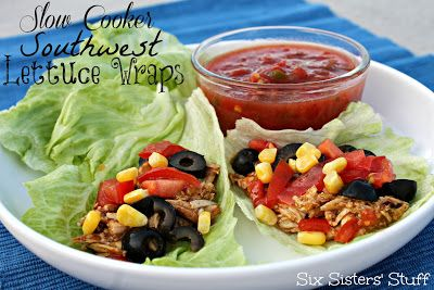 Slow Cooker Southwest Lettuce Wraps from Sixsistersstuff.com #slowcooker #healthymeal #recipe
