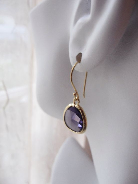 Purple and gold earrings  simple chic jewelry  by OliveYewJewels,