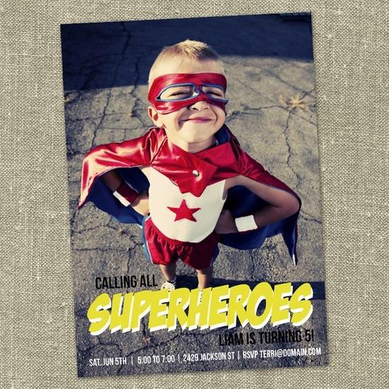 Superhero party invite idea