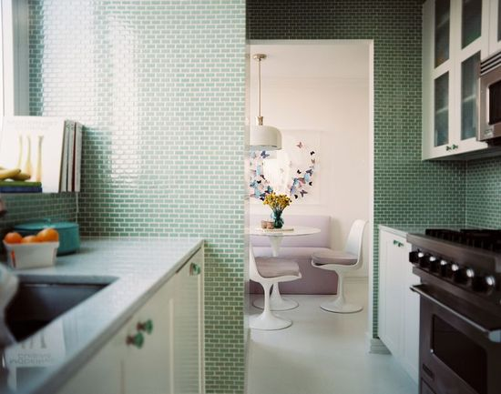 Mini green subway tile from Lonny
