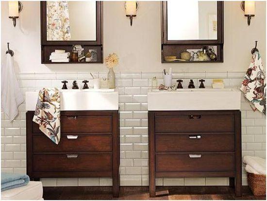 Half bath: white subway tile and dark vanity