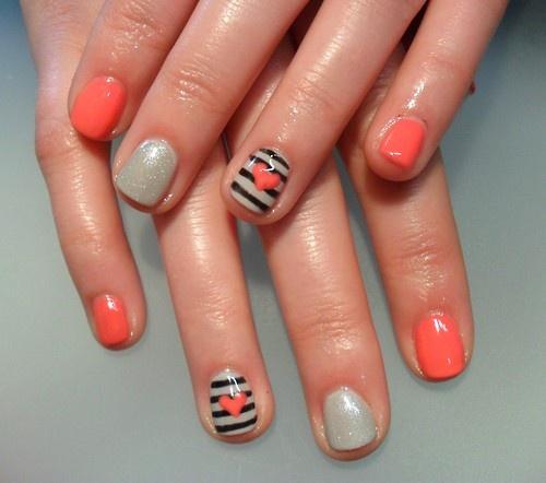 Stripes & hearts nail art.