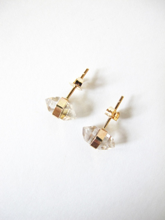 Better Late Than Never Herkimer Diamond Studs - 14K @Michelle @ Pretty Mommy