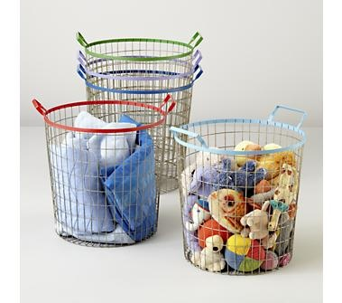 Kids Storage: Colorful Wire Storage Bins $39