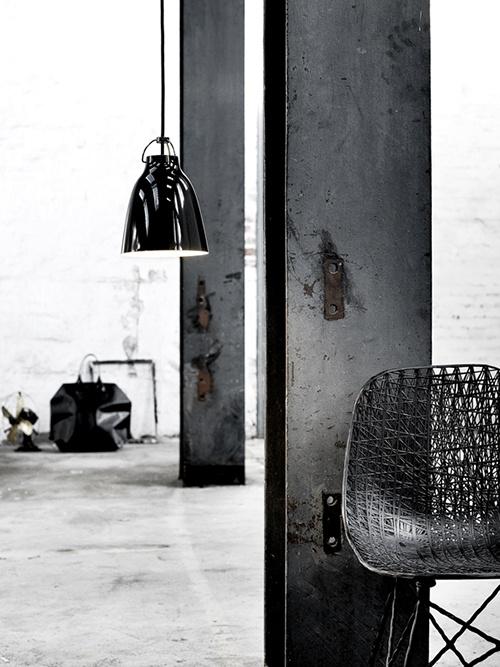 A chair, a lamp.