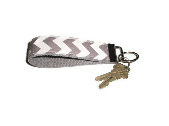 Gray Chevron Wristlet Keychain by xoribbons on Etsy, $8.00