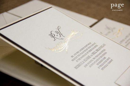 Gold foil + letterpress wedding invitation on a double textured backer