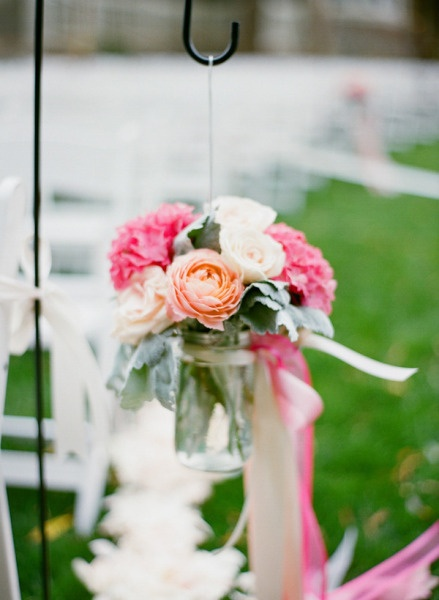 Another view of the hanging jar w/ flowers...so pretty for a wedding or party!