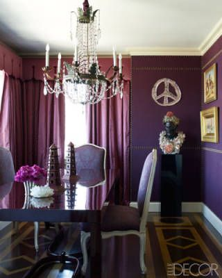 """Oh, I do love a purple room. Pretty chandelier and I enjoy """"dressing up"""" bust, santos, etc in my home too."""