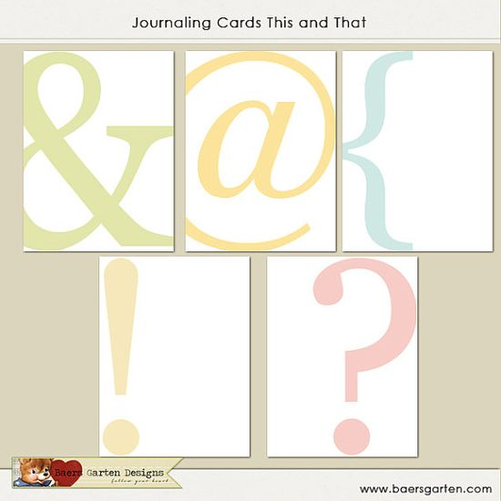 """PRINTABLE Journaling Cards """"This and That"""""""