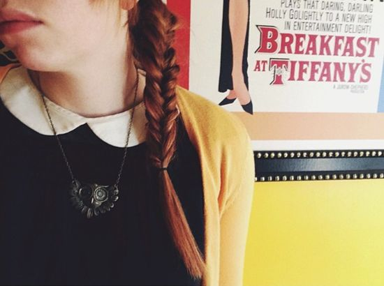French braid, owl necklace, Peter Pan collar