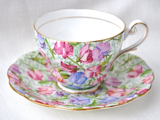Sweet Pea Chintz China Teacup and Saucer by Royal Standard Bone China.
