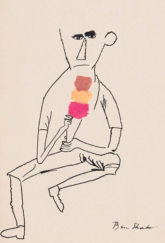 by Ben Shahn: ink and watercolor, by Ben Shahn-- interesting
