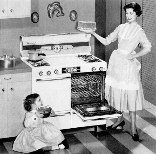 A darling 1950s little girl and her lovely mom whipping up one of my all-time favourite cakes in their new Universal Gas Range. #oven #stove #kitchen #1950s #baking #cake #food #homemaker #housewife