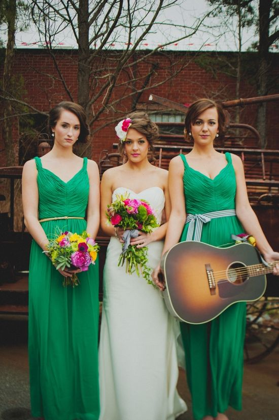 beautiful emerald green wedding with bold colors. bridal hair flowers belted bridesmaids // photo by O'Studios Photography