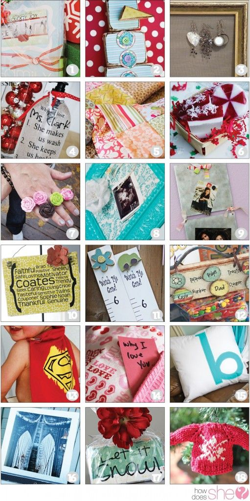 TONS of DIY Gift Ideas! From crafts to home decor, sewing, cooking, and more! Links to nearly 200 ideas!