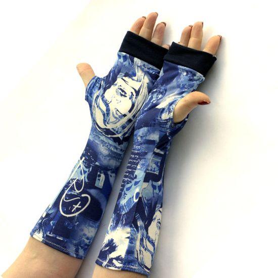 Blue Urban Style Fingerless Gloves  urban clothing arm by WearMeUp, $19.50