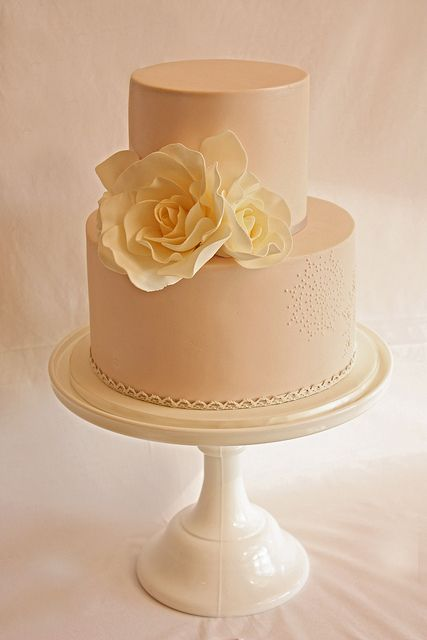 Petite rose and lace wedding cake by Cake Ink. (Janelle), via Flickr