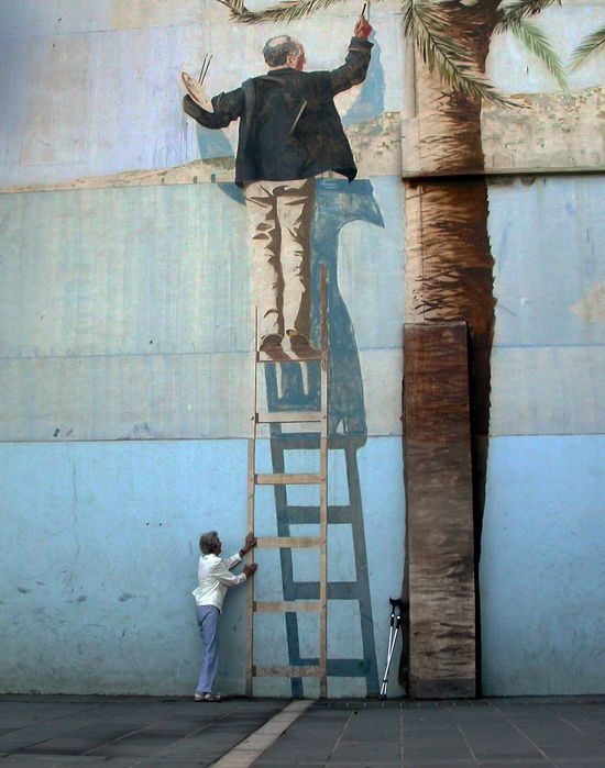 Street Art 3D paint on the ladder...wow!