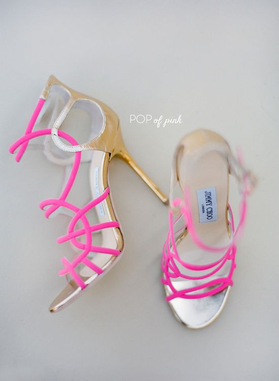 Pop of pink. #JimmyChoo. Photography by josevilla.com Bridal Shoe Round Up  Read more - www.stylemepretty...