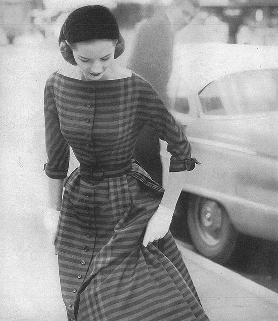 Sweetly, beautifully striped, July 1956. #vintage #fashion #1950s #dress