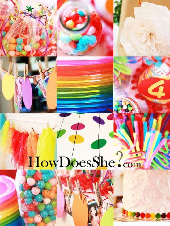 i found this in a list of kids theme birthday parties on howdoesshe.com and even though it's a KIDS theme birthday party, i seriously want my birthday this year to be rainbows,like this lol i love it!     i know, right? i'm like a little kid lol but oh well...i think it looks great! ?