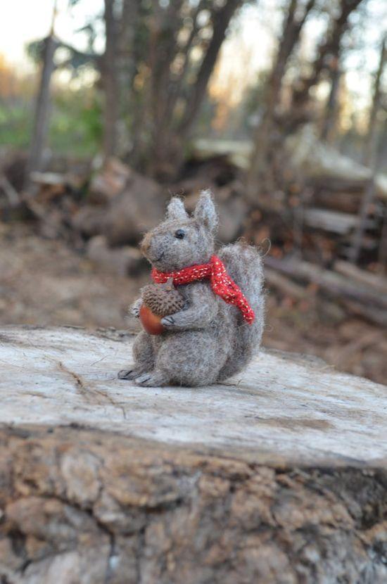 Little Squirrel- Needle Felted Ornament - Felting Dreams by Johana Molina