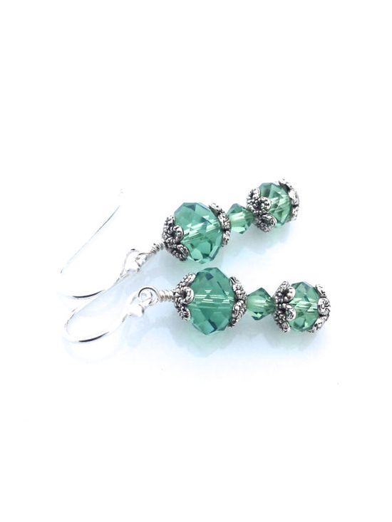 Green crystal earrings made with Swarovski crystal #earrings #green #crystal by #UrbanClink on Etsy, $21.00
