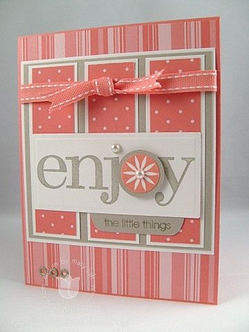 pretty handmade card ... Groovy Guava, Sahara Sand & white ... like the design and the color combo ... Stampin' Up!