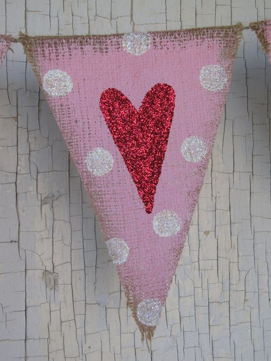 Valentines Day Heart Burlap Banner - This is adorable!