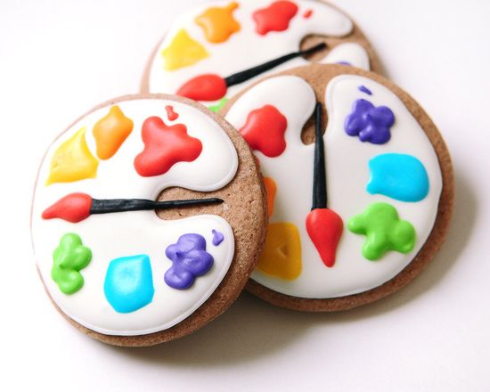 Artist Palette Sugar Cookies - guiltyconfections.... These are too adorable for words. Would be awesome a friend graduating from an art program. #party #baking #cookies #art #painting