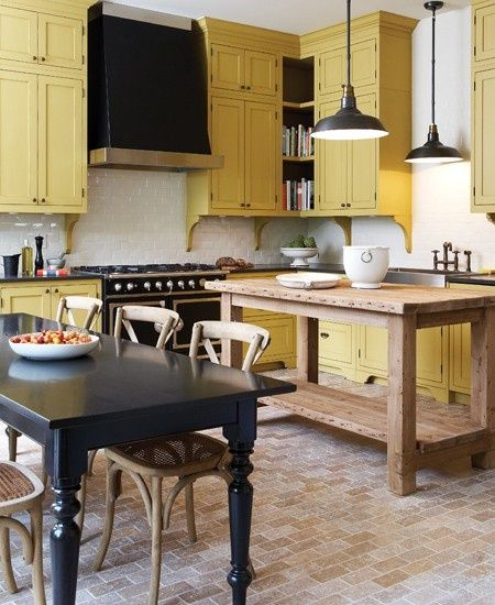 Yellow painted kitchen cabinets.... I like it and I don't really like yellow ...