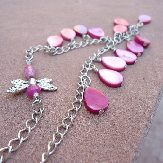 Hot Pink Necklace Silver Jewelry Dragonfly by jewelrybycarmal, $21.00
