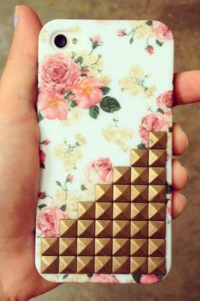 floral print studded iPhone case, fashion girls' golden rivet wild flower iPhone case #floral #print #studded #iPhone #Case www.loveitsomuch.com