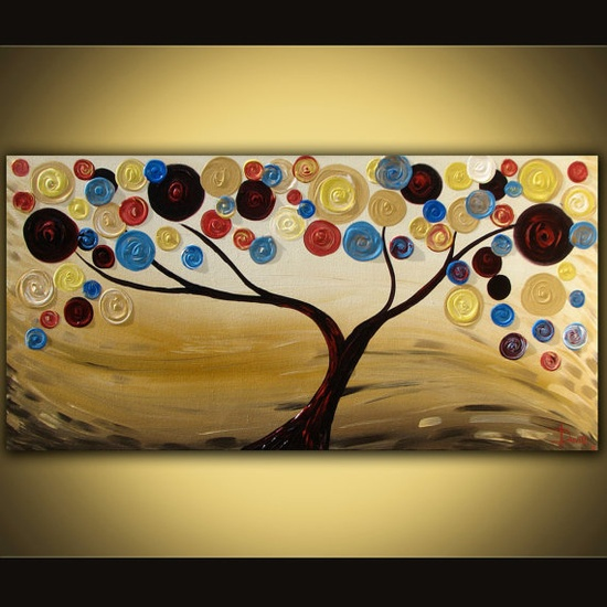 try acrylic style...http://www.etsy.com/listing/82398034/original-abstract-painting-swirl-tree?ref=cat2_gallery_36