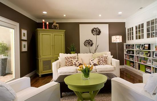 Brown+ Green living room.