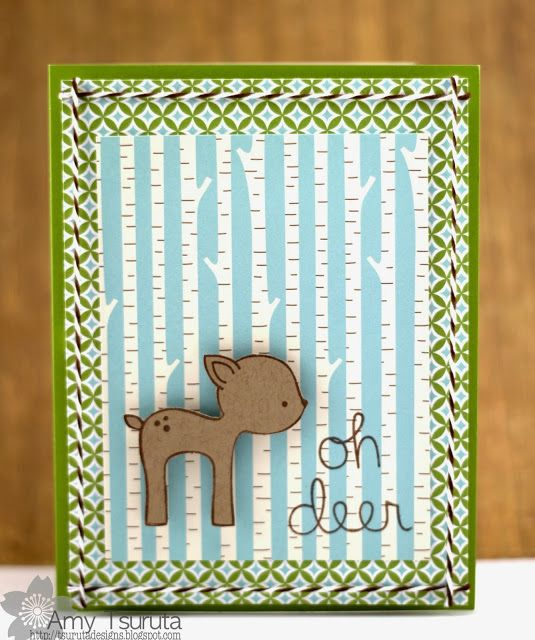 Lawn Fawn - Into the Woods stamps and paper _ simply adorable card by Amy _ oh deer