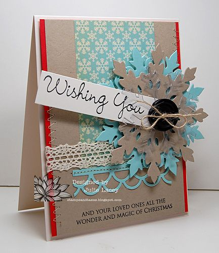 Such fun, lovely layers at work on this pretty Christmas card (From Stamps and Taxes! by Julie). #snowflake #Christmas #card #card_making #scrapbooking #handmade #shabby #chic