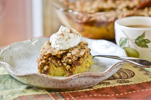 Pecan Pumpkin Crunch by fullforkahead. Recipe adapted from Aida Mollenkamp: A fresh take from the classic pies for Thanksgiving dinner with the goodness of both pumpkin and pecan pies! #Pumpkin_Crunch