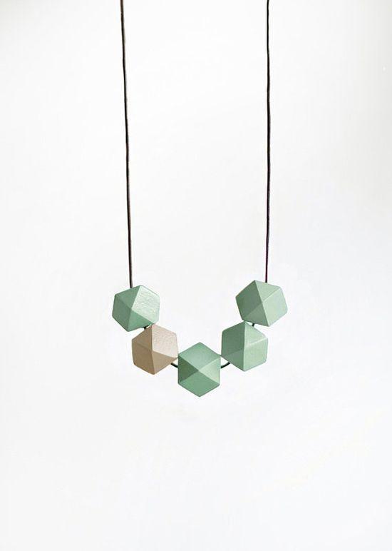 Geometric Necklace / Geometric Jewelry  / Wooden by BlueBirdLab, $30.00