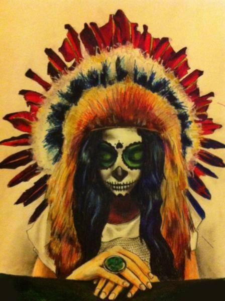 "Custom tattoo designer ""Sergiu Tudor"" headdress indian tattoo skull idea"