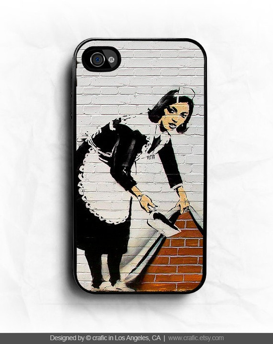 Sweeper Banksy iPhone Hard Case / Fits iPhone 4 4s