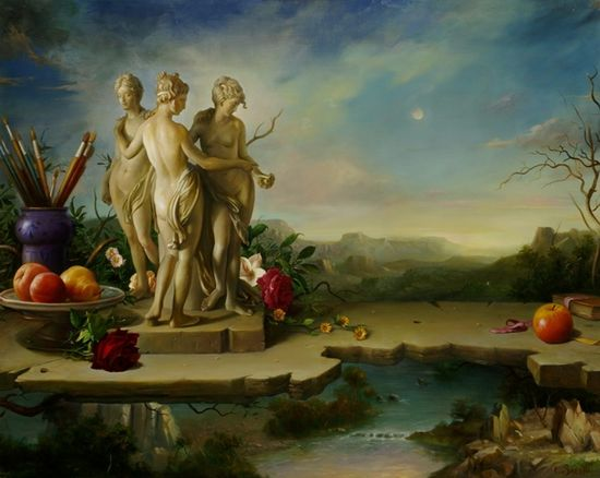 Still life romantic style by Claudio Sacchi 1953 Magic Realism   Italian   painter