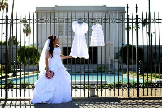 Wedding photo- three white dresses