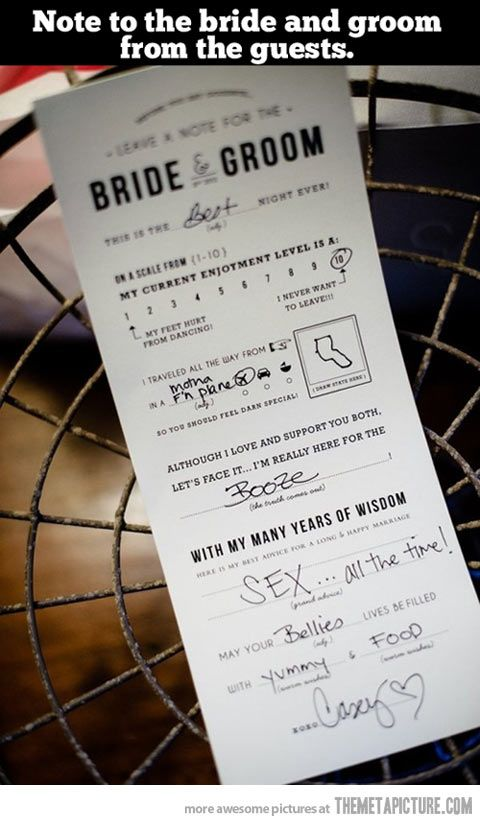 Leave a note for the bride and groom…Hahahaha
