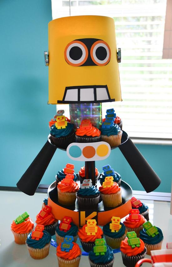 Cupcakes at a Robot Themed Birthday Party with Lots of Fun Ideas via Kara's Party Ideas