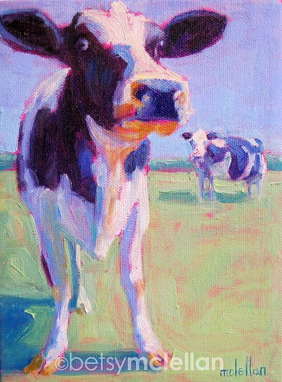 Cows Original Painting by betsymclellanstudio on Etsy, $45.00