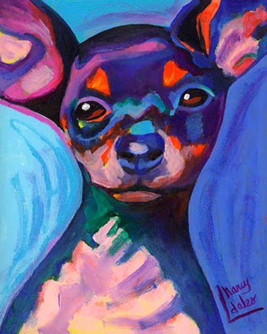 Ay Chihuahua original acrylic painting dog colorful art 8x10 Nancy Daleo Studio Sale
