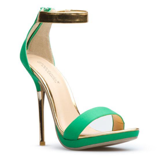 green/gold strap stiletto heels